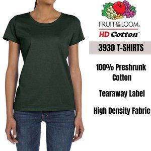 Fruit of the Loom Women Plain T-Shirt GREEN L-XL
